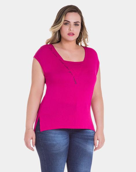 bbe69e6760 Blusa Estampa Glitter em Malha Rosa Spice Pink